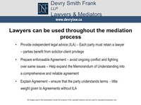 Lawyers can be used throughout the mediation process