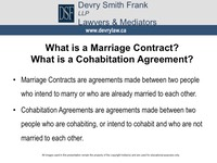 What is a Marriage Contract? What is a Cohabitation Agreement?