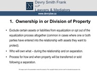 1. Ownership in or Division of Property